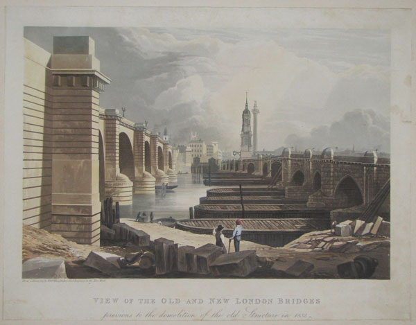 View of the Old and New London Bridges