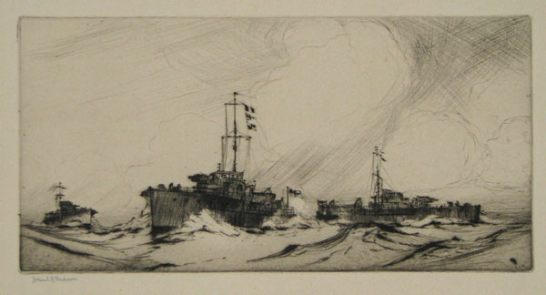 "[In pencil underneath the image:] ""ML's"" on Patrol-possibly commissioned from Francis Edward Foster (who knew Mason) was on the 'North Sea' Patrol & Commander of ""flotilla""."