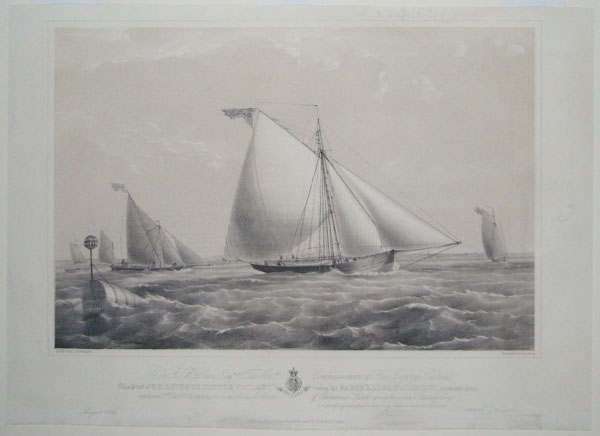 To R.B.Dean, Esq.re & The Hon.ble Commissioners of Her Majesty's Customs. This print of H.M.Revenue Cutter 'Vigilant' towing the Barge 'Alfred' of London, a valuable Prize, captured 17th Decr. 1828 having on board 1010 half-Ankers of Contraband Spirits co