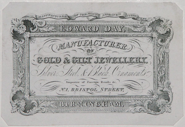 Edward Day, Manufacturer of Gold & Gilt Jewellery, Silver, Steel & Black Ornaments.