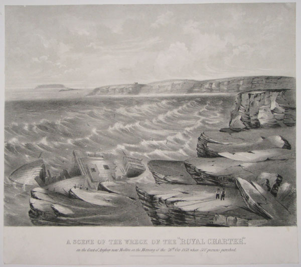 "A Scene of the Wreck of the ""Royal Charter"". on the Coast of Anglesey near Moelfra, on the Morning of the 26th. Oct 1859, when 500 persons perished."