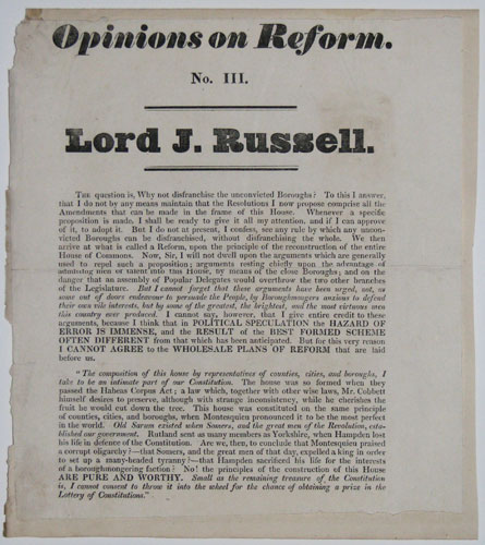 Opinions on Reform. No. III. Lord J. Russell.