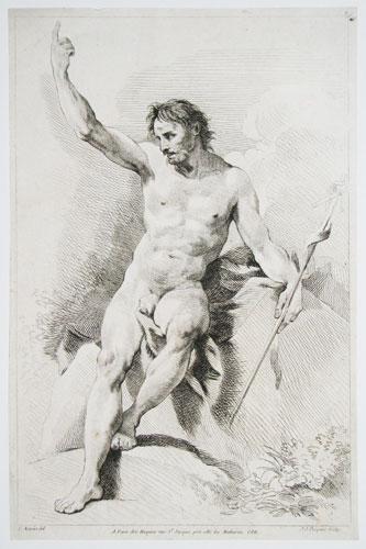 [Study of a male nude holding a cross.]