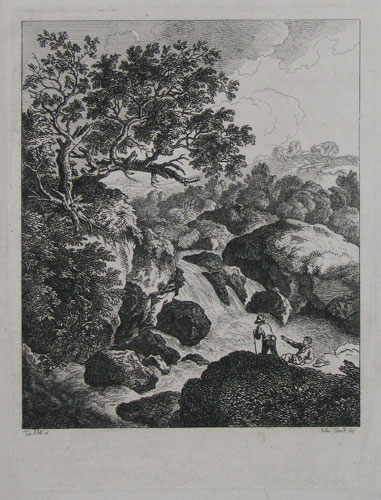 [A rapid river in a landscape; two figures to foreground.]