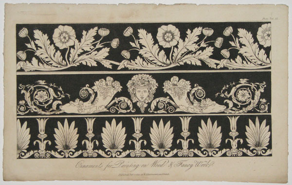 [Set of five patterns.] Ornaments for Painting on Wood & Fancy Work. [x 3] [&] Black and White Borders. [&] Black and White Pattern.