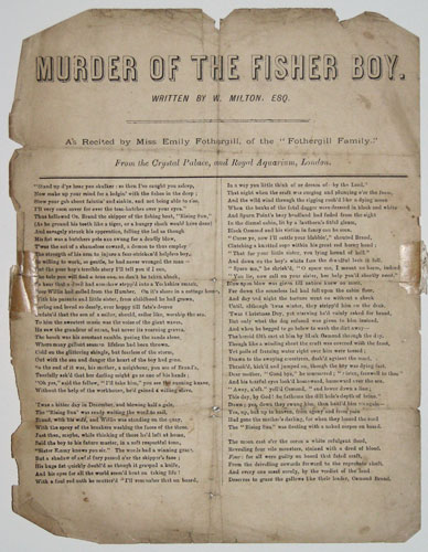 Murder of the Fisher Boy.  Written by W, Milton, Esq.