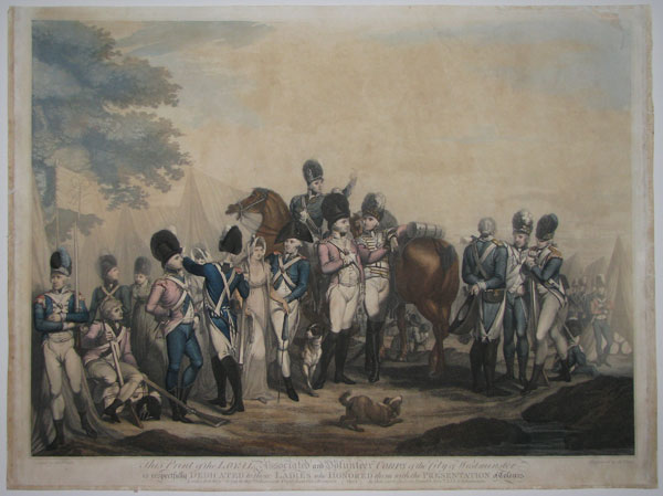 This Print of the Loyal Associated Ward and Volunteer Corps of the City of London is respectfully Dedicated to those Ladies who Honored them with the Presentation of Colours by their most obedient humble Serv.ts LI & N Schiavonetti.