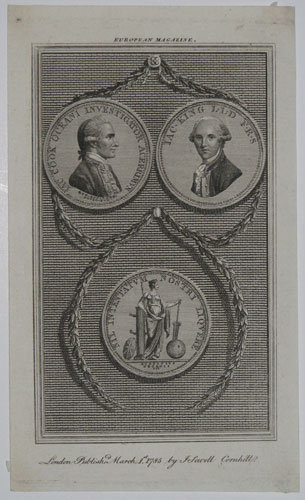 [Commemorative medallion portraits of Captains James Cook and James King with a medallion of Britannia beneath.]