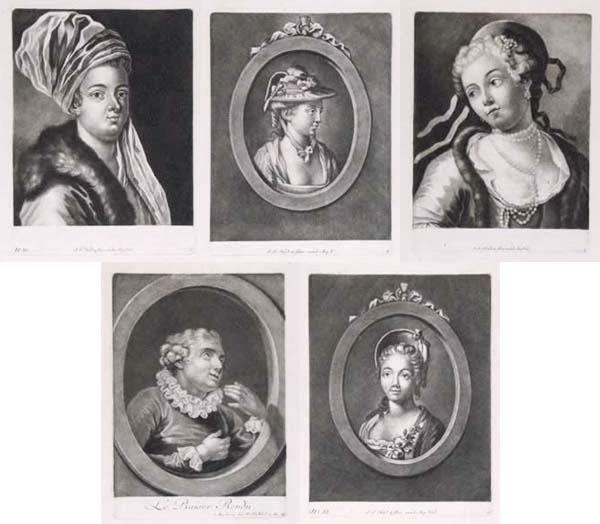 [Five mezzotint heads, stitched together.]