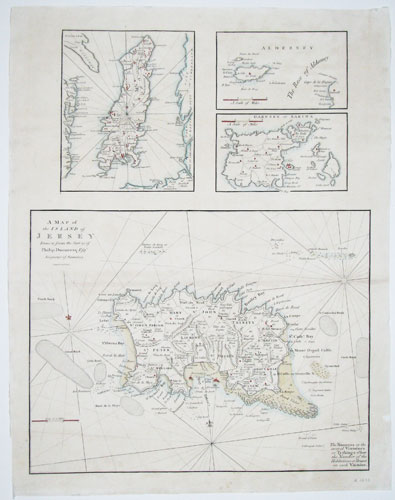 A Map of the Island of Jersey Drawn from the Survey of Philip Dumaresq Esq.r Seigneur of Samares, [also with the Isle of Man, Alderney, & Garnsey ot Sarina.]