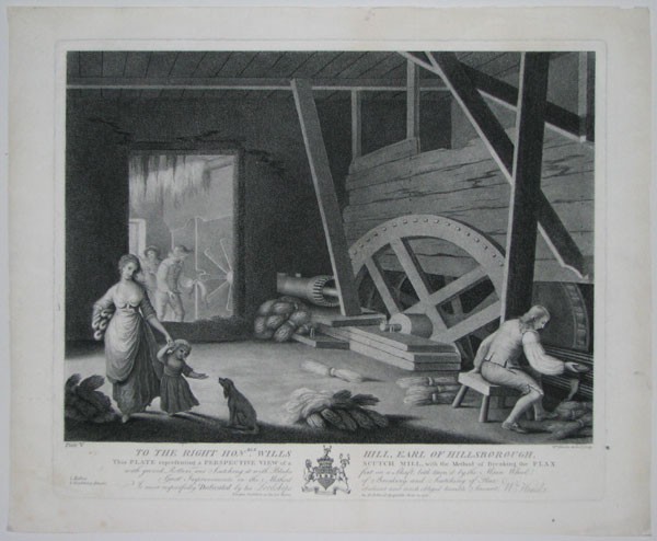 Plate V. To the Right Hon.ble Wills Hill, Earl of Hillsborough, This Plate representing a Perspective View of a Scutch Mill, with the Method of Breaking the Flax with groved Rollers, and Scutching it with Blades fixt on a Shaft, both turn'd by the Main