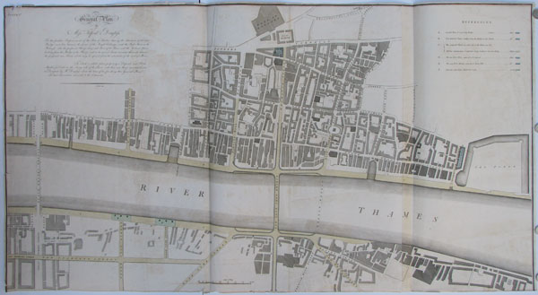 General Plan by Mess.rs Telford & Douglass For the Furth Improvement of the Port of London, shewing the Situation of the new Bridge in a line between the front of the Royal Exchange...