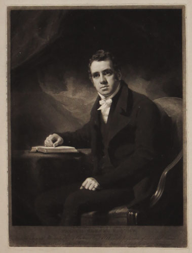 Francis Horner Exqr M.P. Born 12August 1778, Died 8Feb 1817. From the Original Picture by Henry Raeburn Esqr. R.A. is the possession of Leonard Horner Esqr to whom this Print is respectfully dedicated by his obliged and obedient Servant. S. W. Reynolds.