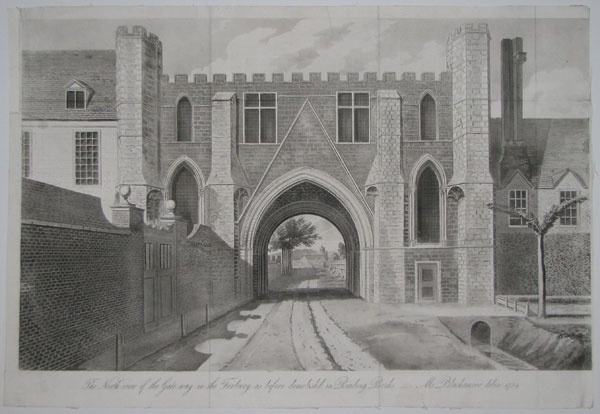 The North View of the Gate-way in the Forbury, as before demolish'd in Reading, Berks. ___