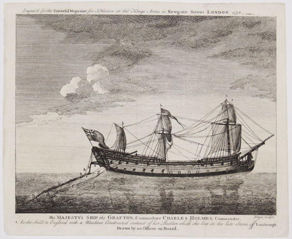 His Majesty's Ship the Grafton, Commodore Charles Holmes, Commander, As she sail'd to England with a Machine Constructed instead of her Rudder, which she lost in the last Storm off Louisbourgh.