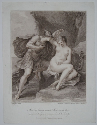 Perseus having rescued Andromeda from imminent danger, is enamoured with her beauty.