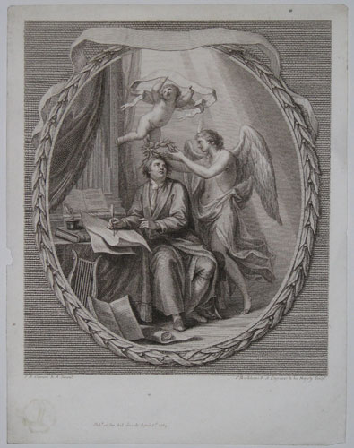 [Handel composing sacred Music; the Genius of Harmony crowning him, & a Seraph wafting his name to heaven.]
