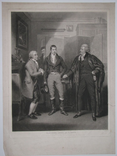 Blanchard, Liston, and Mathews. In the Farce of Love, Law and Physic.