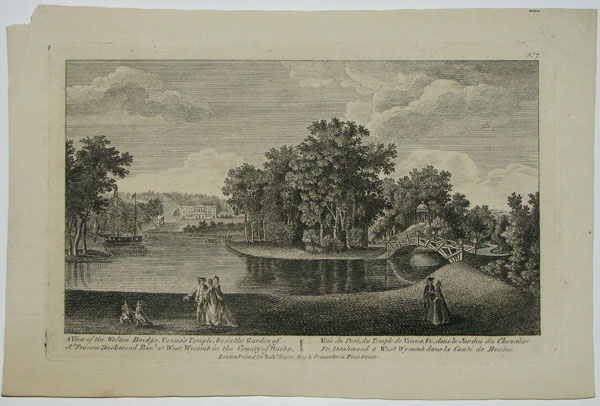 A View of the Walton Bridge, Venus's Temple &c in the Garden of Sr. Francis Dashwood Bart. at West Wycomb in the County of Bucks.