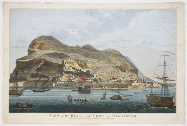 View of the Rock and Town of Gibraltar.