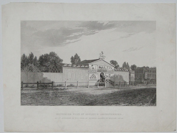 Exterior View of Astley's Amphitheatre. As it appeared in 1777, from an Original Drawing by William Capon.