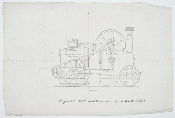 [Straw-burning ploughing engine.]