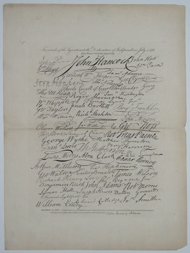 Fac-similes of the Signatures to the Declaration of Independence July 4 1776.