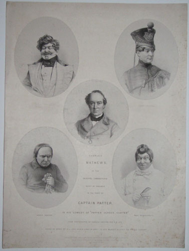 "Charles Mathews, in the Several Characters which he assumes in the part of Captain Patter, in his comedy of ""Patter Versus Clatter"". Pierre Peitter. Capt.n Patter. Percy Pouter. Paul Powderpuff."