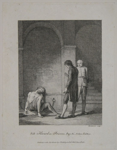 [A man (priest?) visiting a prisoner (John Howard?)]