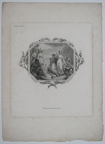 [Vignette illustration; Music and five other female figures with an old man.]