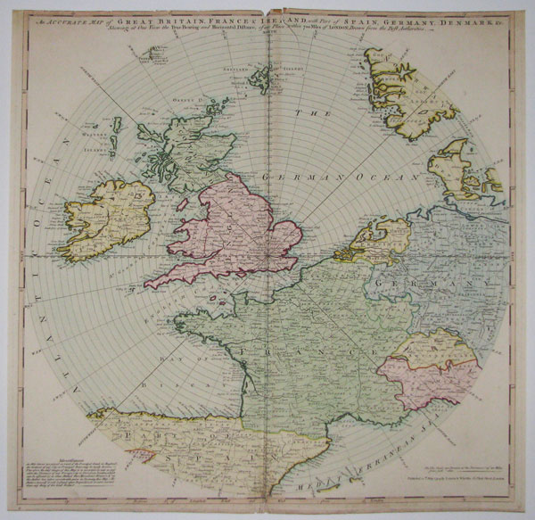 An Accurate Map of Great Britain, France & Ireland, with Part of Spain, Germany, Denmark &c.