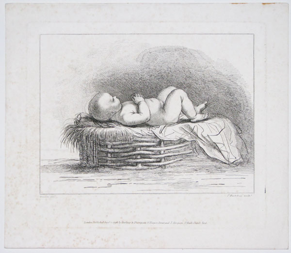 [Baby lying down on straw basket.]
