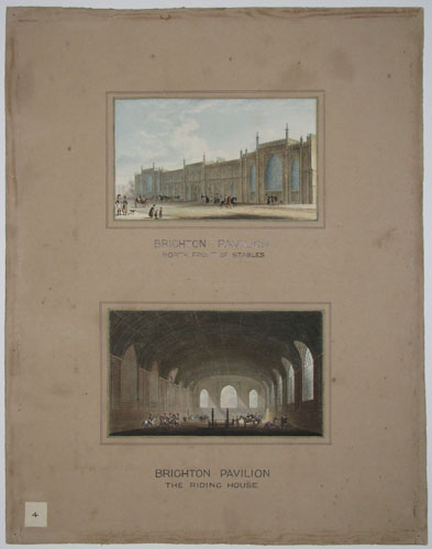 Brighton Pavilion. North Front of the Stables. Brighton Pavilion. The Riding Stables [Old ink mss.]