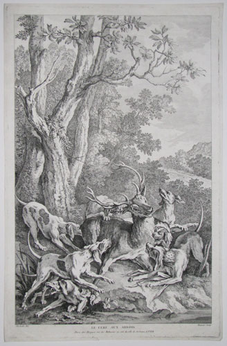 Le Cerf aux Abbois. [The stag at bay.]