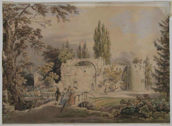 [Set of four views in a landscaped gardens,  continental]