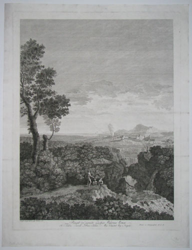 Pinxit in pariete Gaspar Pussinus Romae In Aedibus Exccell. Princ. Column. Mag. Comestab. Reg. Neapolis.  [Three figures in a landscape; a city beside a bay in the distance.]