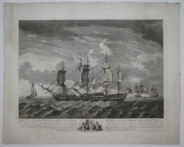 To Captain Peere Williams his Officers and Seamen, This Plate representing their Engageing & Taking the French Frigate La Nymphe on the 10th of August 1780,