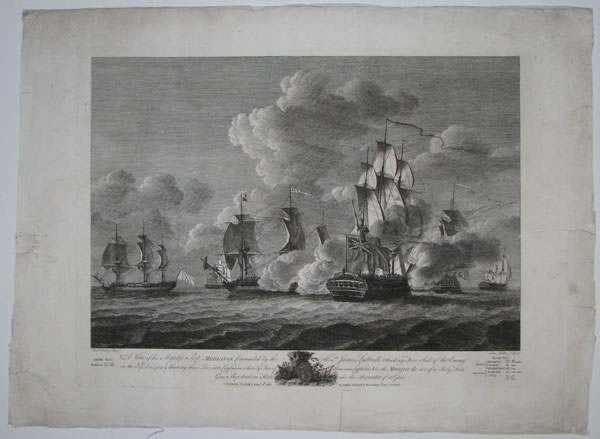A View of his Majesty's Ship Mediator Commanded by the Hon.ble James Luttrell, attacking Five Sail of the Enemy