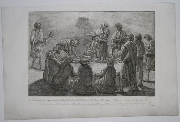 An Entertainment of a Supper given by a Sheck [sic] of the Arabs, to Lord Charlemount & the Party on that Voyage; the Guests are distinguished by striped Turbans.