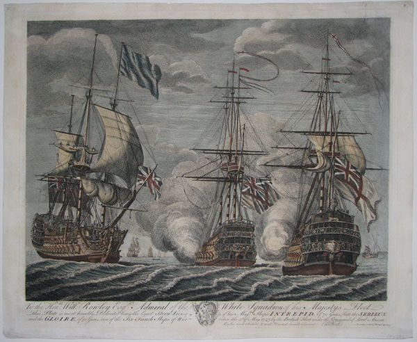 To the Hon:ble Will:m Rowley Esq:r Admiral of the White Squadron of his Majesty's Fleet
