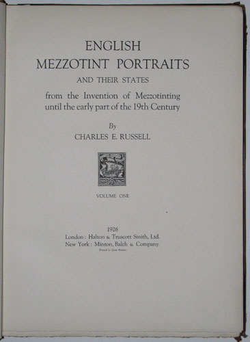 English Mezzotint Portraits and their states from the Invention of Mezzotinting until the early part of the 19th Century.
