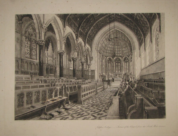 "Clifton College. ____ ""Interior of the Chapel from the South-West corner""."