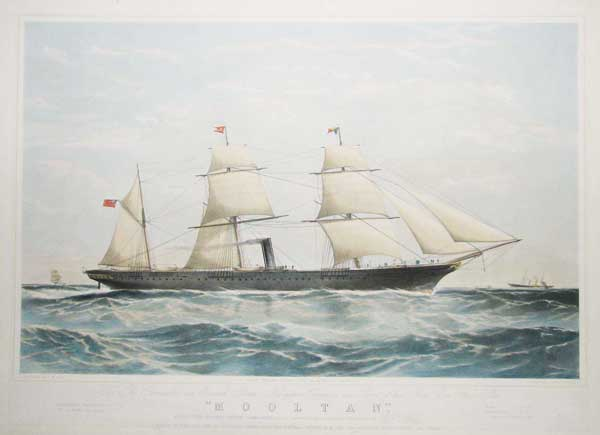 To The Peninsular and Oriental Steam Navigation Company, this Print of their Iron Screw Steam Ship 'Mooltan', (2520 Tons Edward Cooper Commander) is most respectfully dedicated by their obedient Servant, Wm. Foster.
