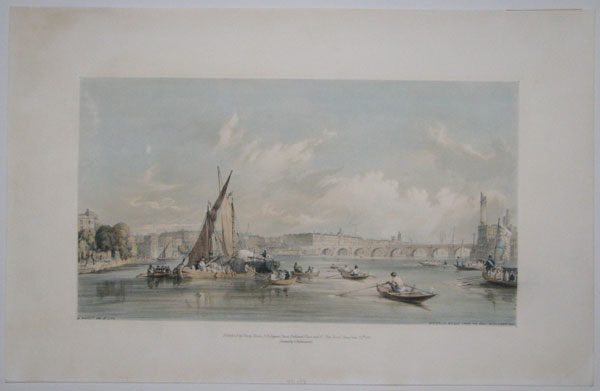 Waterloo Bridge from the West with a Boat Race [in plate lower right].