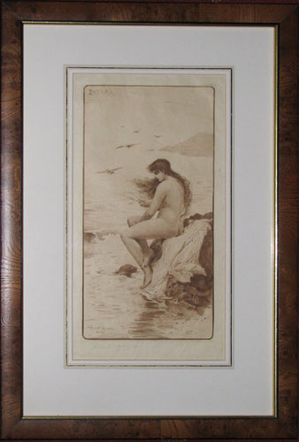 [Nude woman (named in Greek in plate upper left) with looking-glass seated on rocks by the sea.]