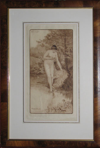 [Semi-nude woman (named in Greek in plate upper left) dipping her toe into water in a landscape.]