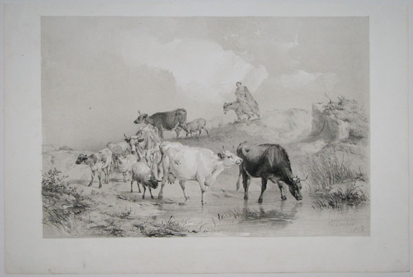 [Cow, sheep, and a woman (a drover?) riding a donkey.]