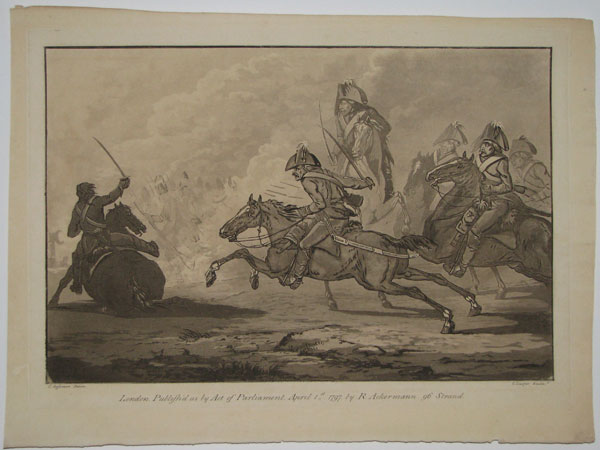 [Untitled: cavalry charge with horse stumbling on left.