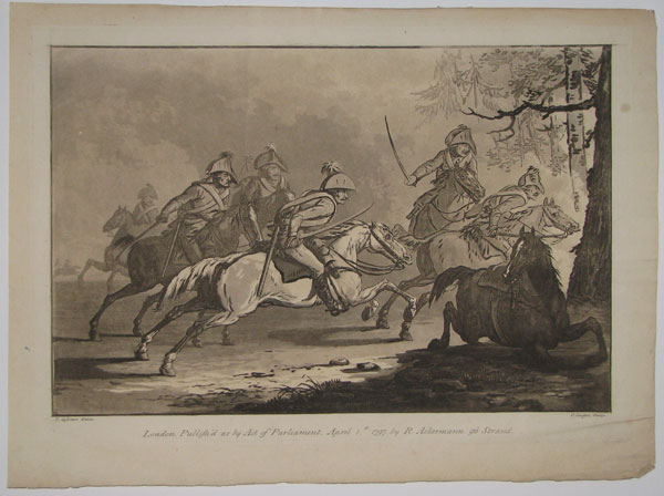 [Untitled: a cavalry charge into woods.]