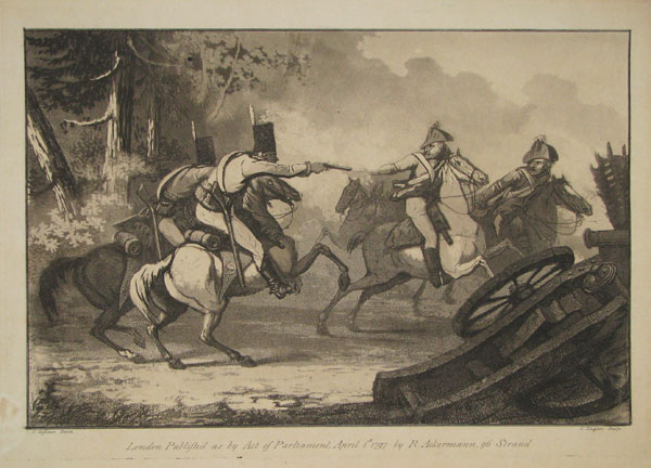 [Untitled: two pairs of cavalrymen, one rider firing a pistol, a destroyed cannon on right.]